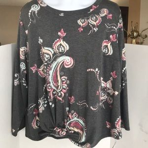 Alyx Front Tied Grey Paisley Long-sleeved Top New
